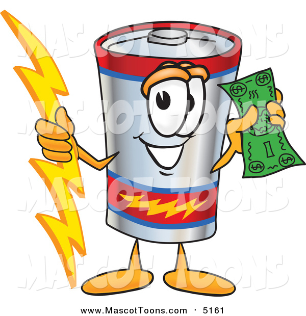 Vector Cartoon of a Battery Mascot Holding a Bolt of Energy and a Green Dollar Bill