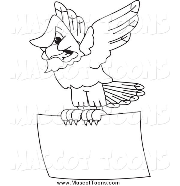 Vector Cartoon of a Black and White Bald Eagle Hawk or Falcon Flying a Sign