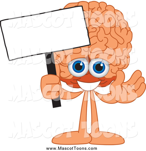 Vector Cartoon of a Brain Mascot Holding a Blank Sign
