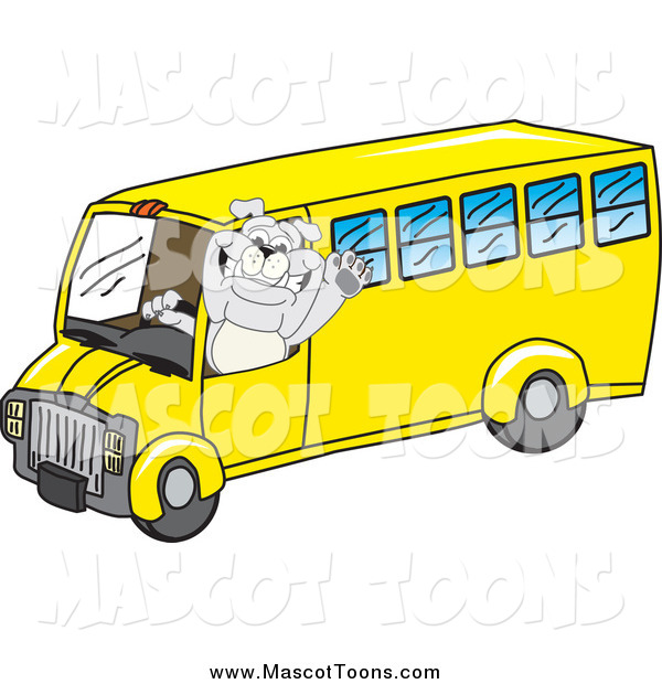 Vector Cartoon of a Bulldog Mascot Waving and Driving a School Bus