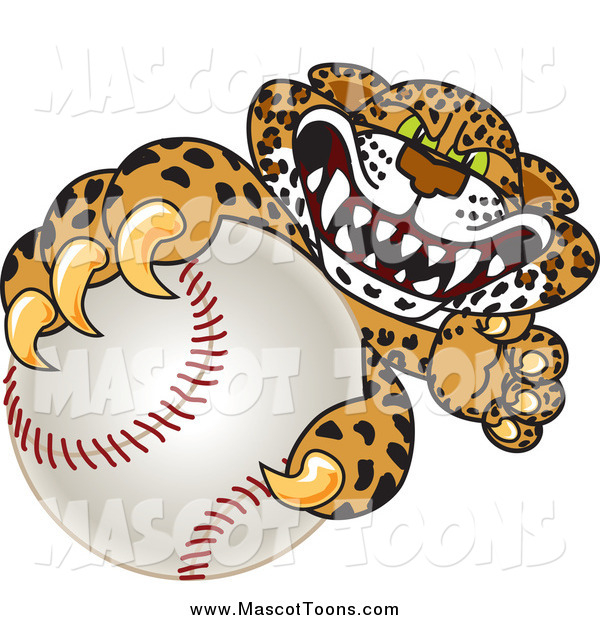 Vector Cartoon of a Cheetah, Jaguar or Leopard Character Grabbing a Baseball