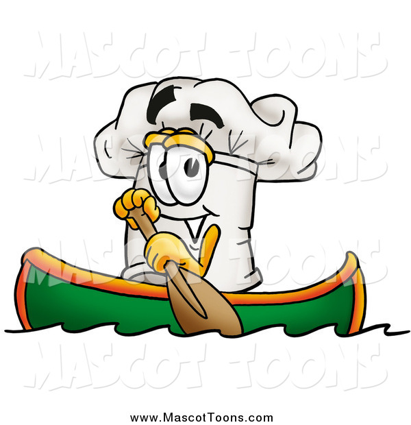 Vector Cartoon of a Chefs Hat Character Rowing a Boat