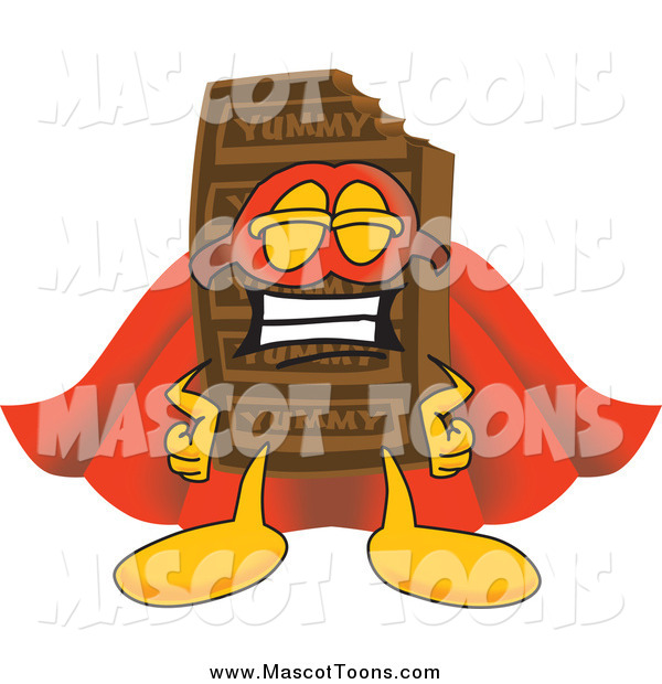 Vector Cartoon of a Chocolate Candy Bar Mascot Dressed As a Super Hero