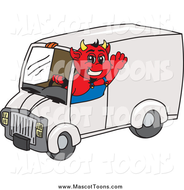 Vector Cartoon of a Devil Waving and Driving a Delivery Van