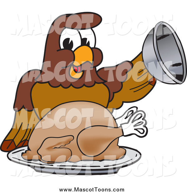 Vector Cartoon of a Falcon Mascot Serving a Turkey
