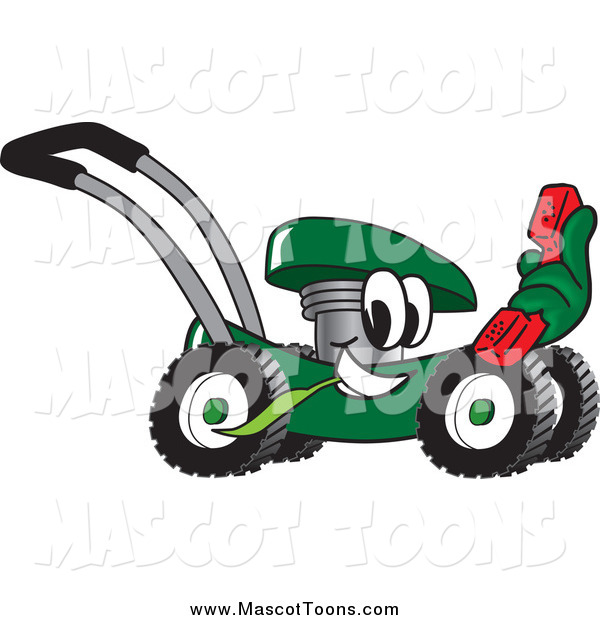 Vector Cartoon of a Green Lawn Mower Mascot Holding out a Red Telephone
