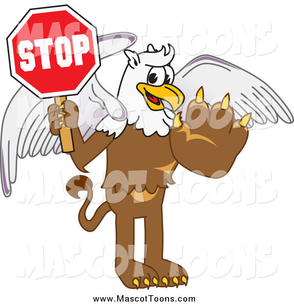 Vector Cartoon of a Griffin Mascot Holding a Stop Sign