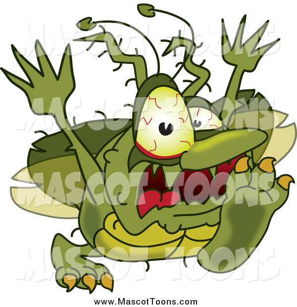 Vector Cartoon of a Gross Green Bug Attacking