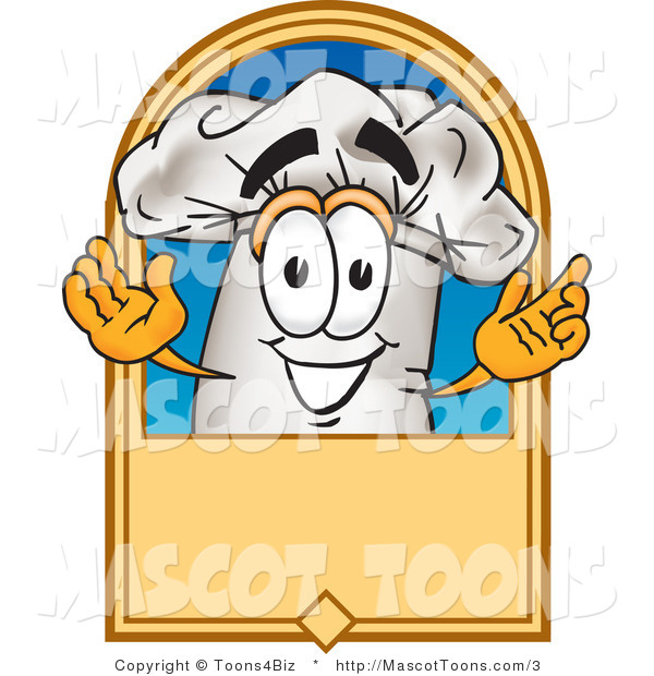 Vector Cartoon of a Happy Chef Hat and Label