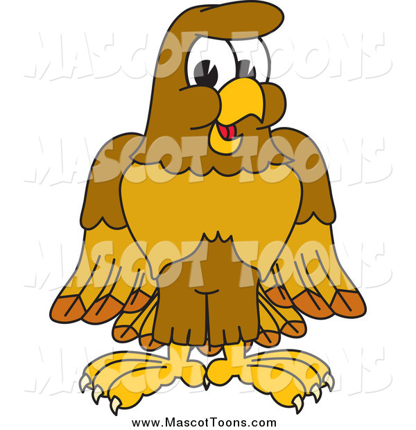 Vector Cartoon of a Happy Hawk Mascot