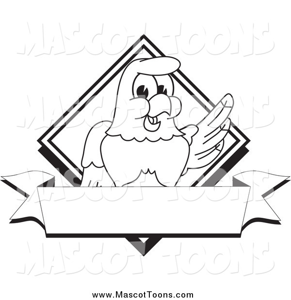 Vector Cartoon of a Lineart Bald Eagle Hawk or Falcon Diamond Banner