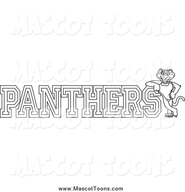 Vector Cartoon of a Lineart Panther Character Mascot with PANTHERS Text