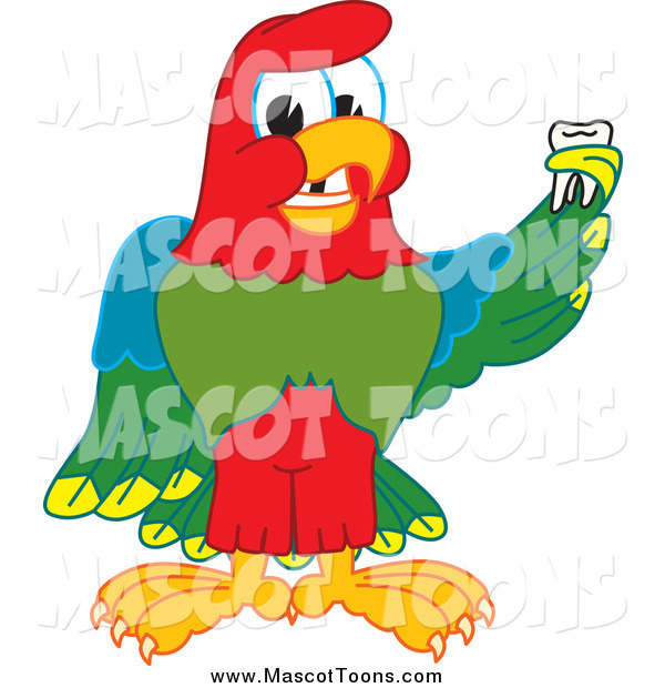 Vector Cartoon of a Macaw Parrot Mascot Holding a Missing Tooth