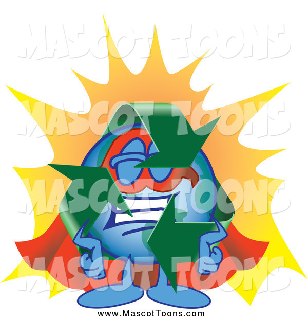 Vector Cartoon of a Recycle Earth Mascot Super Hero