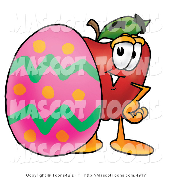 Vector Cartoon of a Red Apple with a Pink Easter Egg
