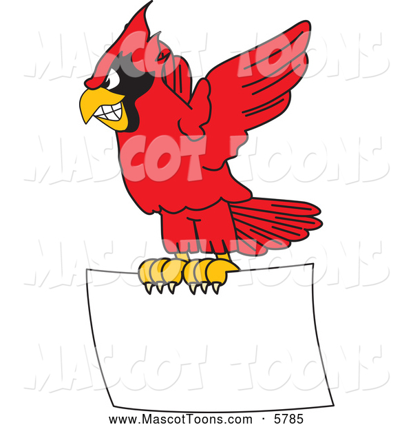 Vector Cartoon of a Red Cardinal Mascot Flying with a Blank Sign