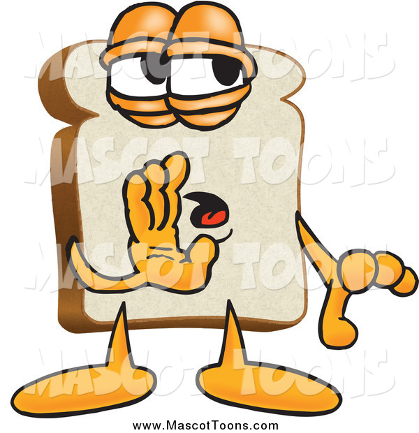 Vector Cartoon of a Slice of White Bread Mascot Whispering