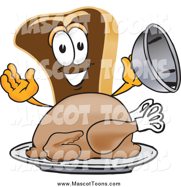 Vector Cartoon of a Steak Mascot Serving a Thanksgiving Turkey on a Platter