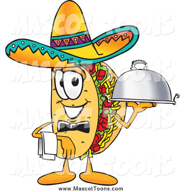 Vector Cartoon of a Taco Mascot with a Platter