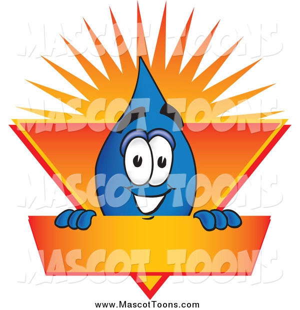 Vector Cartoon of a Water Drop Mascot on an Orange and Yellow Label