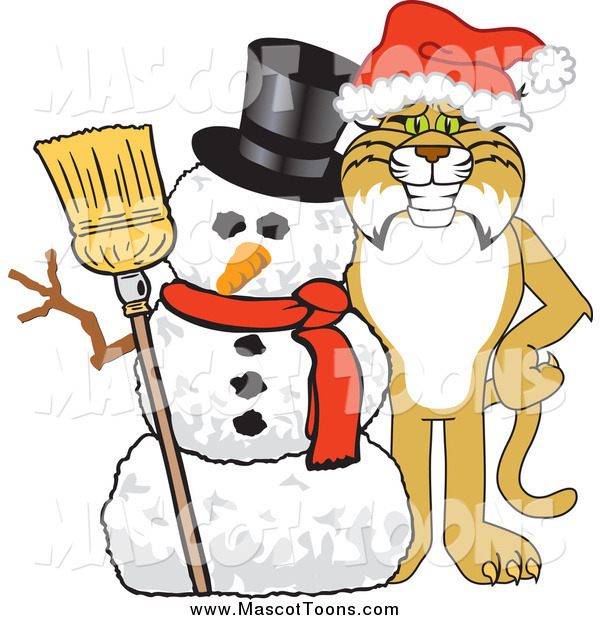 Vector of a Bobcat Mascot with a Snowman