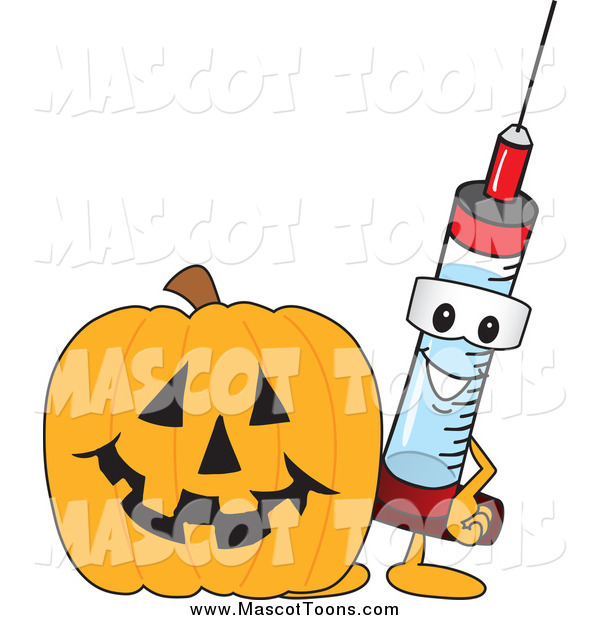Vector of a Medical Syringe Mascot with a Halloween Pumpkin