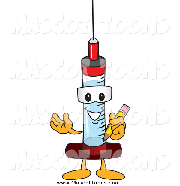 Vector of a Syringe Mascot Holding a Pencil