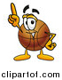 Cartoon of a Basketball Mascot Pointing Upwards by Toons4Biz