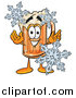 Cartoon of a Beer Mug Mascot with Winter Snowflakes by Toons4Biz