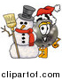 Cartoon of a Bowling Ball Mascot with a Snowman by Toons4Biz