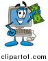 Cartoon of a Desktop Computer Mascot Waving a Dollar Bill by Toons4Biz