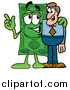 Cartoon of a Dollar Bill Mascot Talking to a Business Man by Toons4Biz