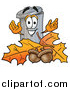 Cartoon of a Garbage Can Mascot with Autumn Leaves and Acorns by Toons4Biz