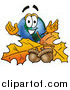 Cartoon of a Happy Earth Globe Mascot Cartoon Character with Autumn Leaves and Acorns in the Fall by Toons4Biz