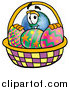 Cartoon of a Happy Earth Globe Mascot with a Basket of Easter Eggs by Toons4Biz