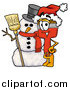 Cartoon of a Paint Brush Mascot and Christmas Snowman by Toons4Biz