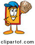 Cartoon of a Price Tag Character Catching a Baseball with a Glove by Toons4Biz