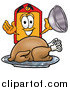 Cartoon of a Price Tag Mascot Serving a Thanksgiving Turkey on a Platter by Toons4Biz