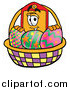 Cartoon of a Price Tag Mascot with a Basket of Easter Eggs by Toons4Biz