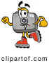 Mascot Cartoon of a Camera Character Roller Blading by Toons4Biz
