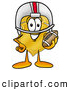 Mascot Cartoon of a Cheerful Badge Mascot Cartoon Character in a Helmet, Holding a Football by Toons4Biz