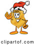 Mascot Cartoon of a Cheerful Badge Mascot Cartoon Character Wearing a Santa Hat and Waving by Toons4Biz