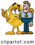 Mascot Cartoon of a Cute Badge Mascot Cartoon Character Talking to a Business Man by Toons4Biz