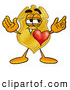 Mascot Cartoon of a Cute Badge Mascot Cartoon Character with His Heart Beating out of His Chest by Toons4Biz