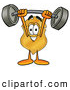 Mascot Cartoon of a Friendly Badge Mascot Cartoon Character Holding a Heavy Barbell Above His Head by Toons4Biz