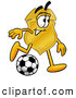 Mascot Cartoon of a Friendly Badge Mascot Cartoon Character Kicking a Soccer Ball by Toons4Biz