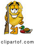 Mascot Cartoon of a Grinning Badge Mascot Cartoon Character Duck Hunting, Standing with a Rifle and Duck by Toons4Biz