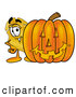 Mascot Cartoon of a Grinning Badge Mascot Cartoon Character with a Carved Halloween Pumpkin by Toons4Biz