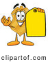 Mascot Cartoon of a Happy Badge Mascot Cartoon Character Holding a Blank Yellow Price Tag for a Sale by Toons4Biz