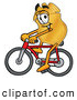 Mascot Cartoon of a Happy Badge Mascot Cartoon Character Riding a Bicycle by Toons4Biz